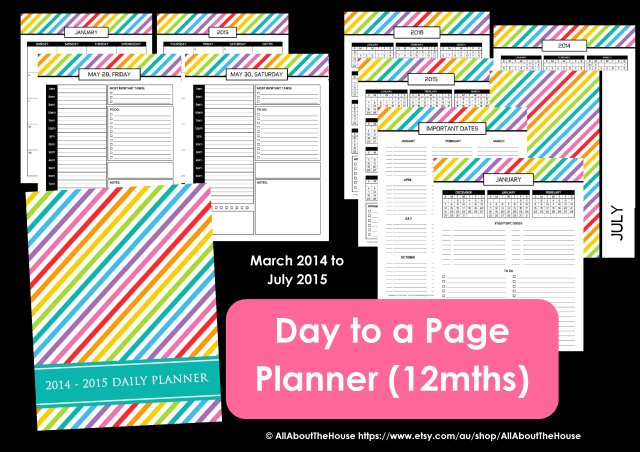 Day to a page planner 12 month