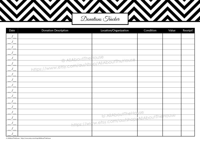 Donations Tracker - Black printable