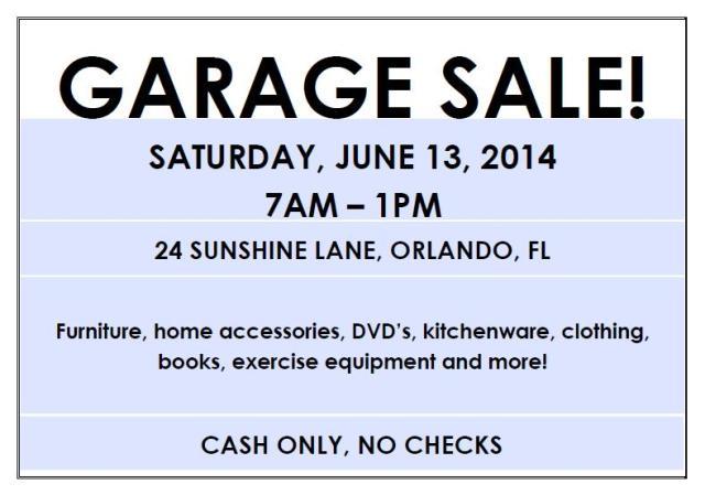 Editable garage sale flyer