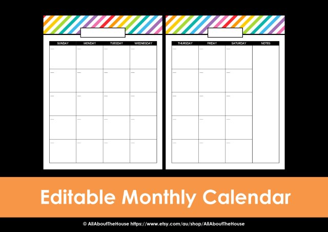 Editable monthly calendar printable