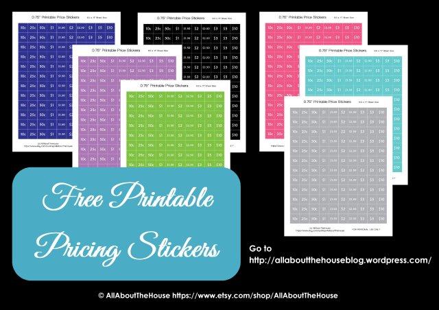 Garage Sale Planner printable price sticker