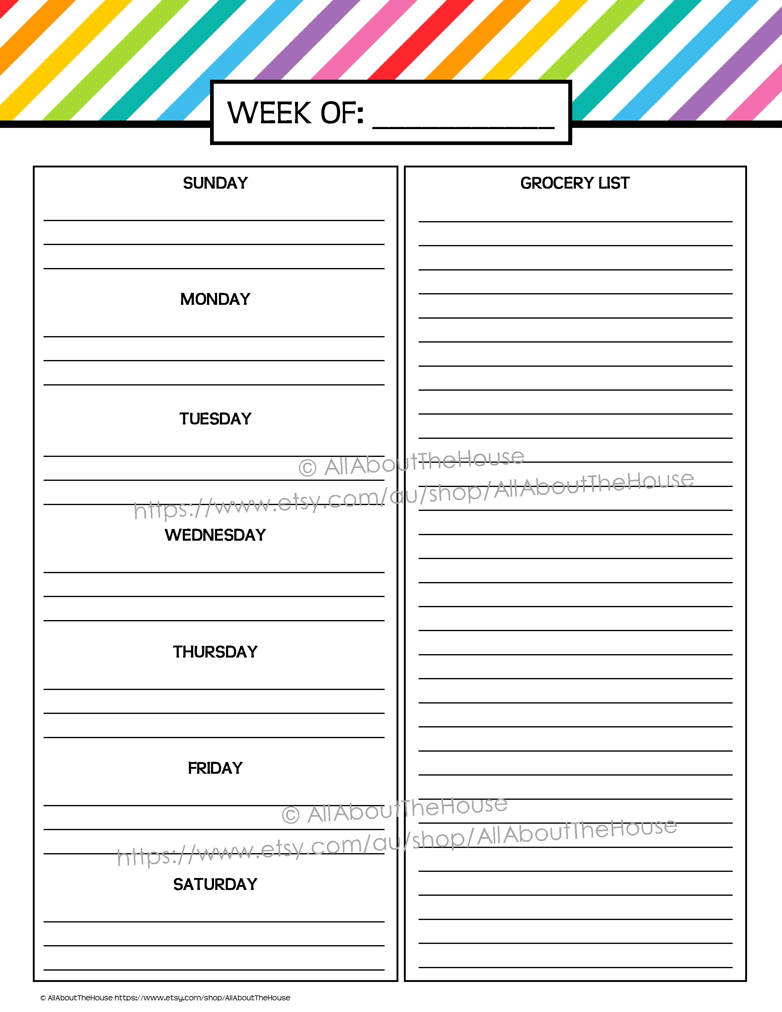 Meal Plan, Grocery List Printable Rainbow