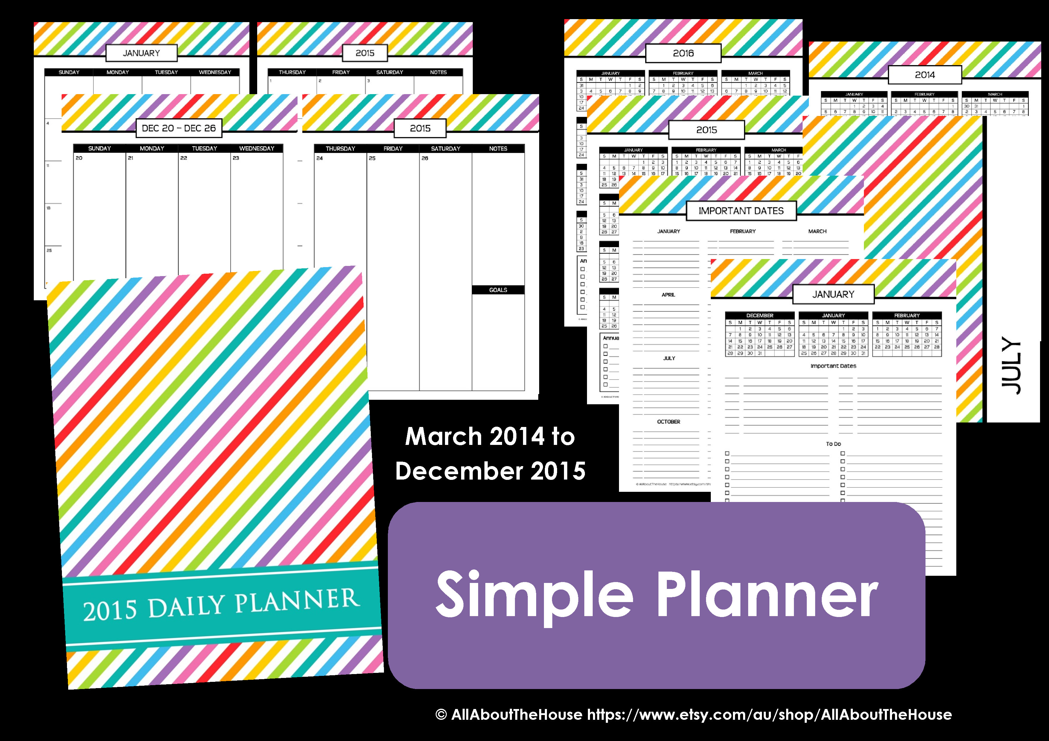 Personalised printable planner 2015 2014