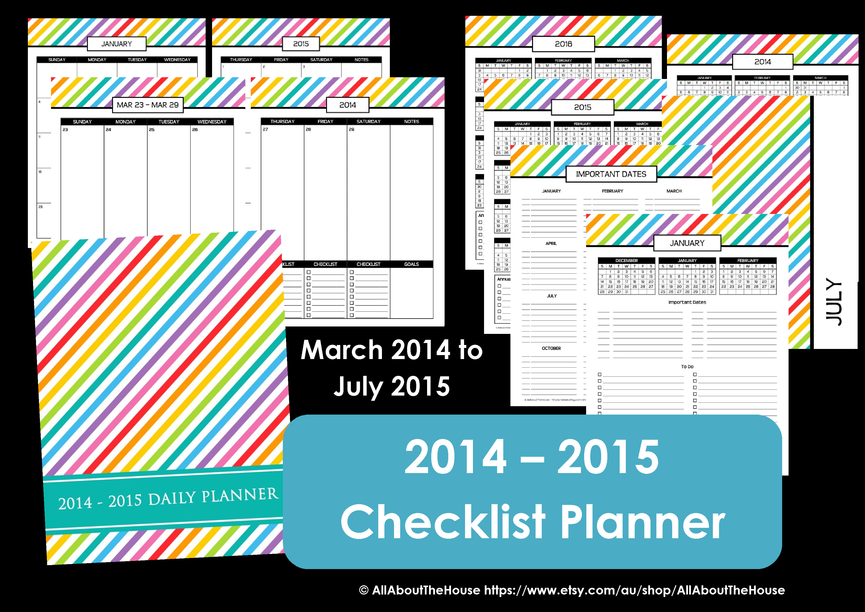 rainbow planner printable checklist