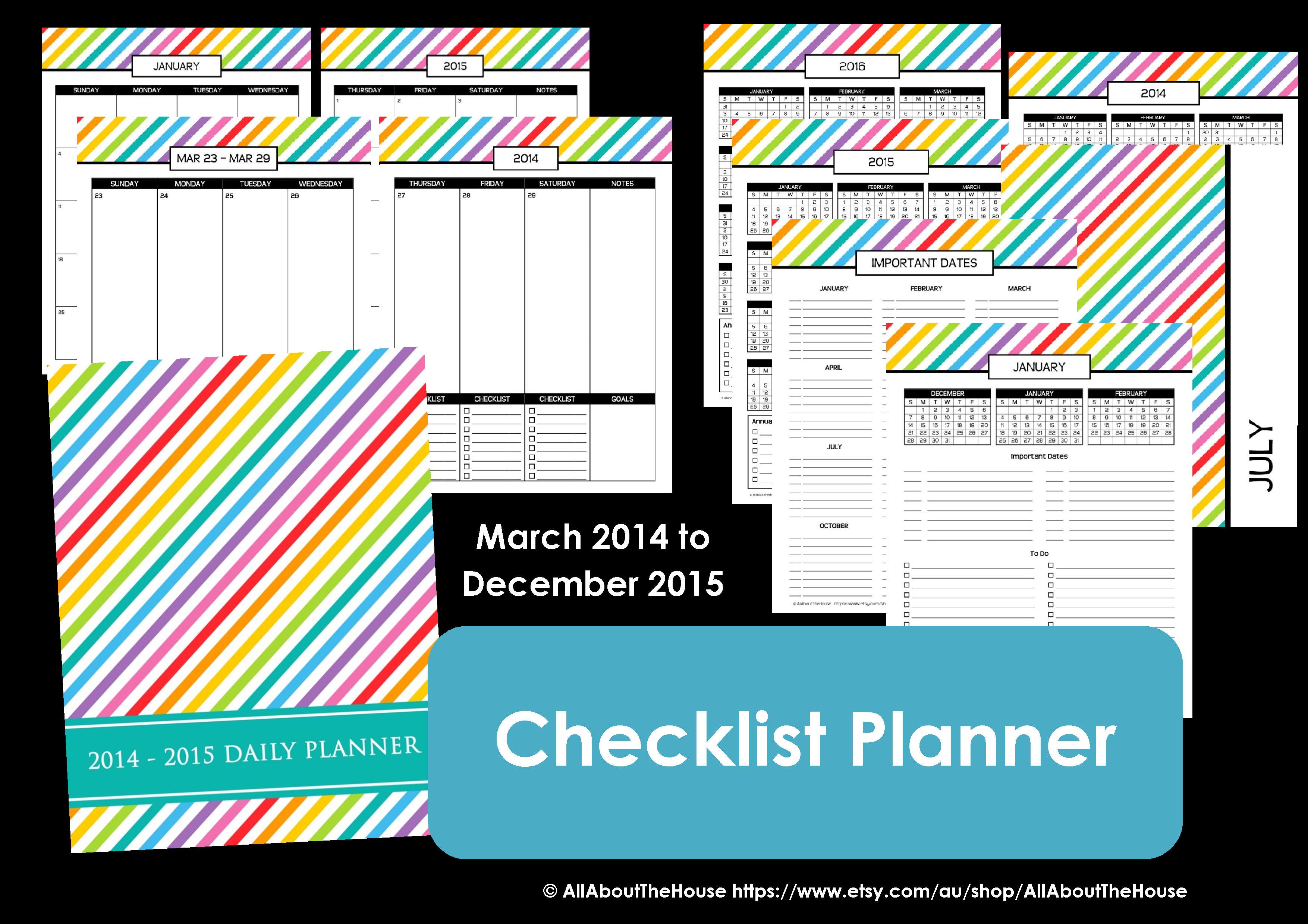 rainbow printable planner checklist diary