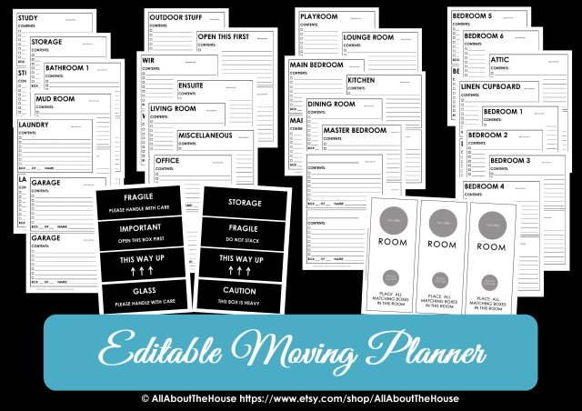 Moving Box Labels Printable Sticker Room Label Door Hanger
