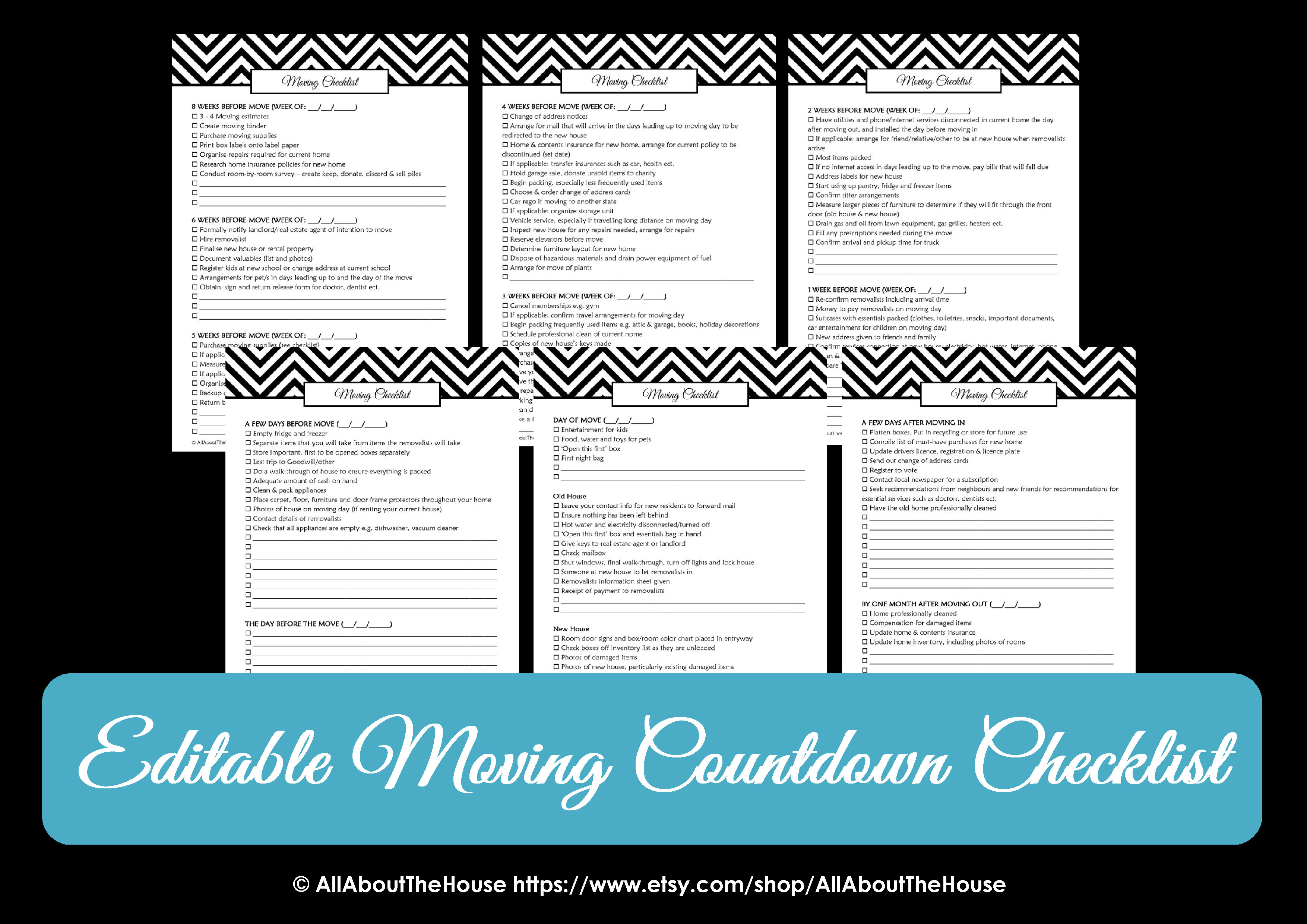 Moving Checklist Planner Chevron Printable Change of Address