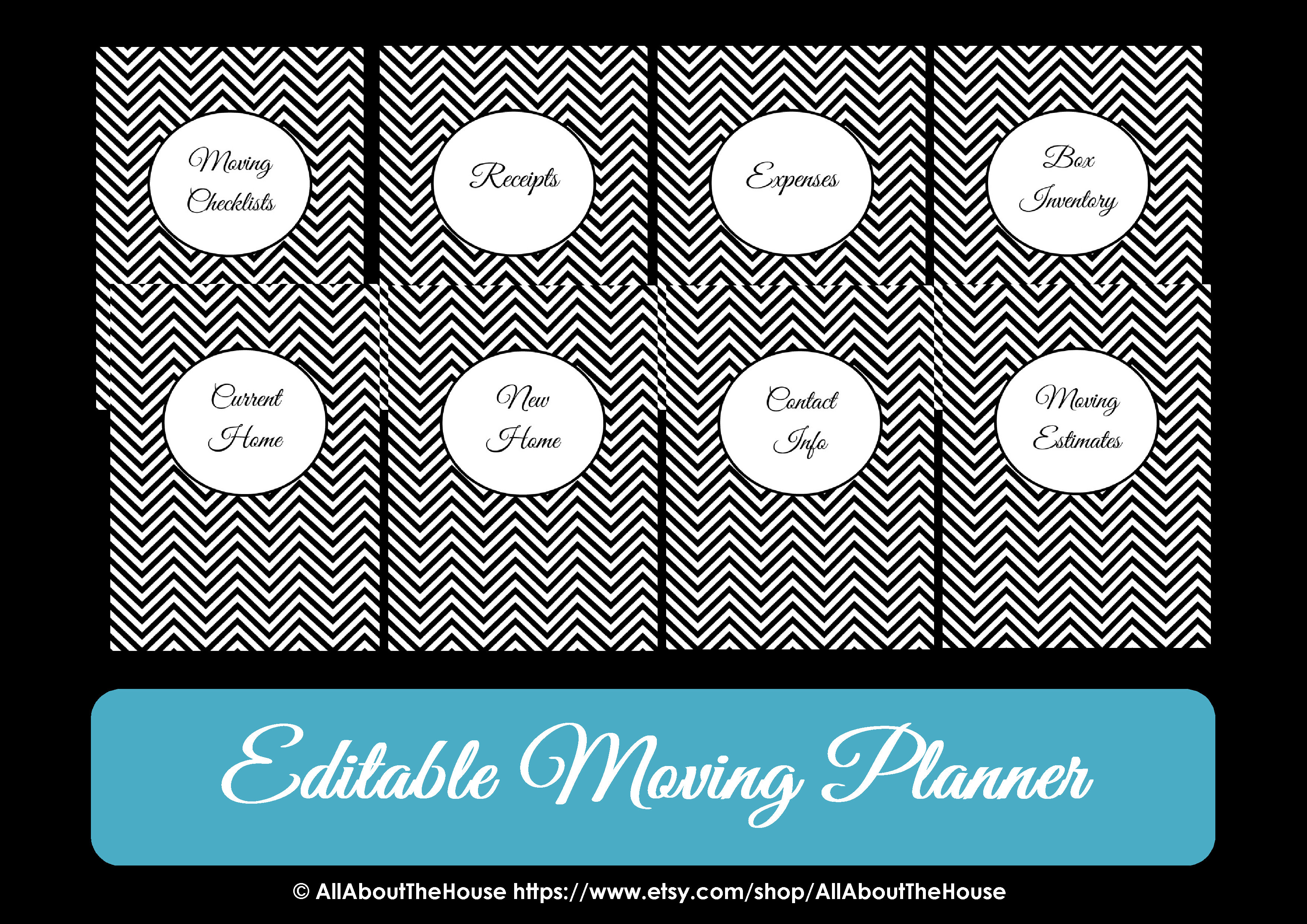 Moving Planner Binder Printable Chevron Organize Checklist