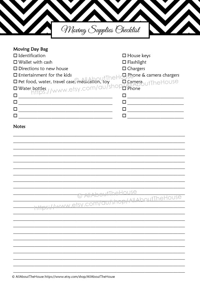 Moving Supplies Checklist binder planner printable chevron editable