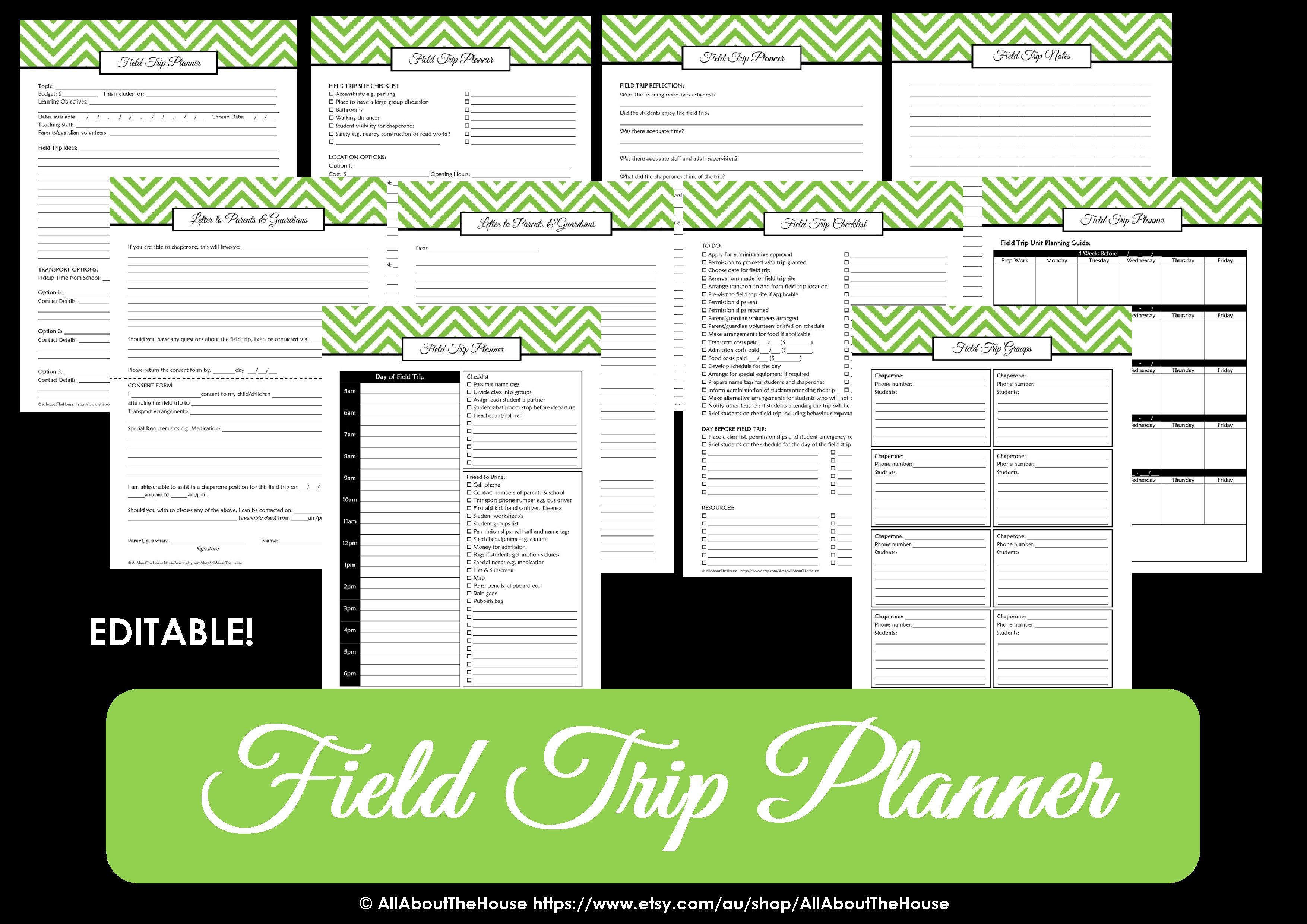 field trip planner - teacher planner