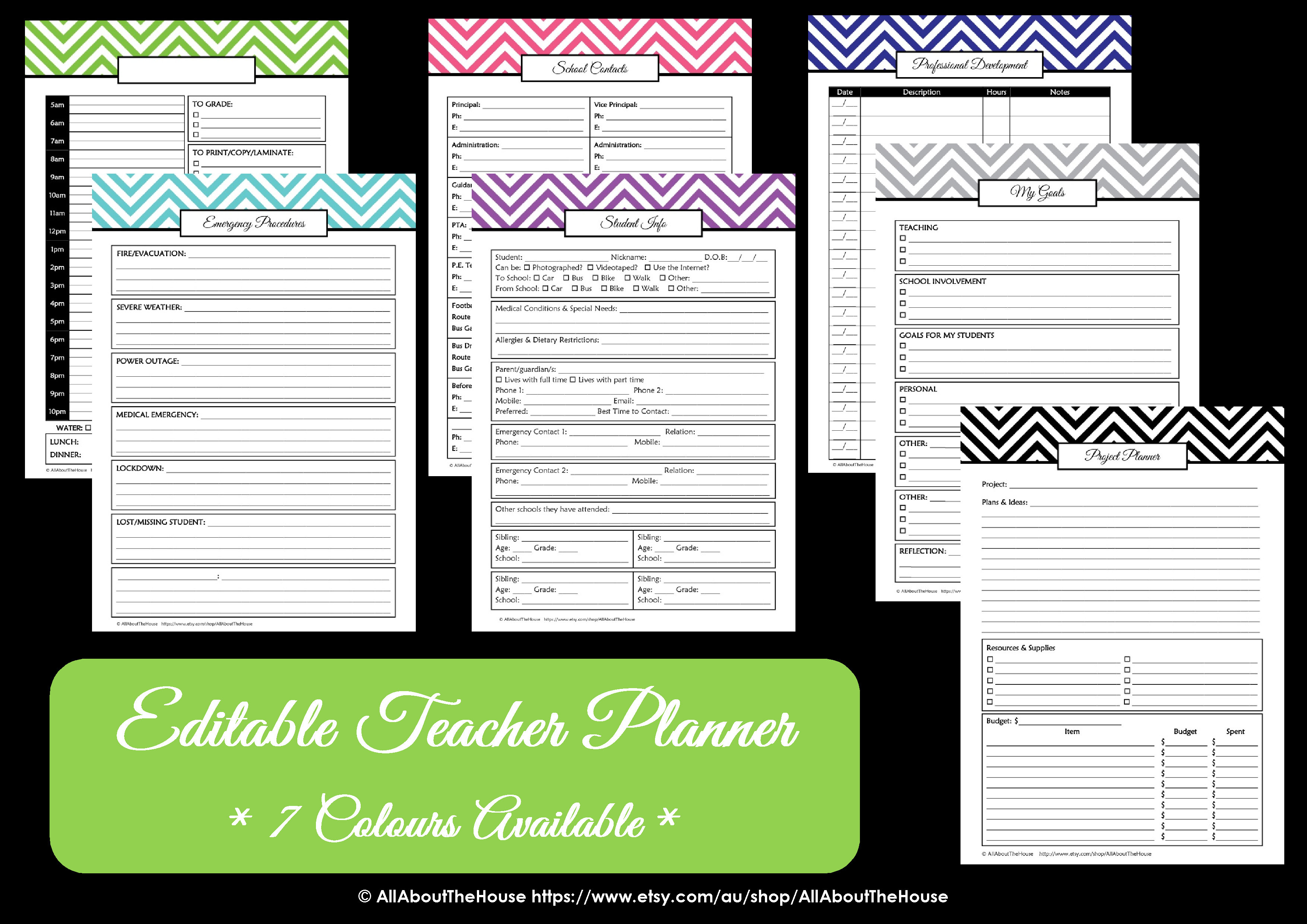 editable chevron printable teacher planner all about planners