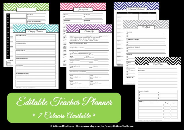 teacher planner colour choice options