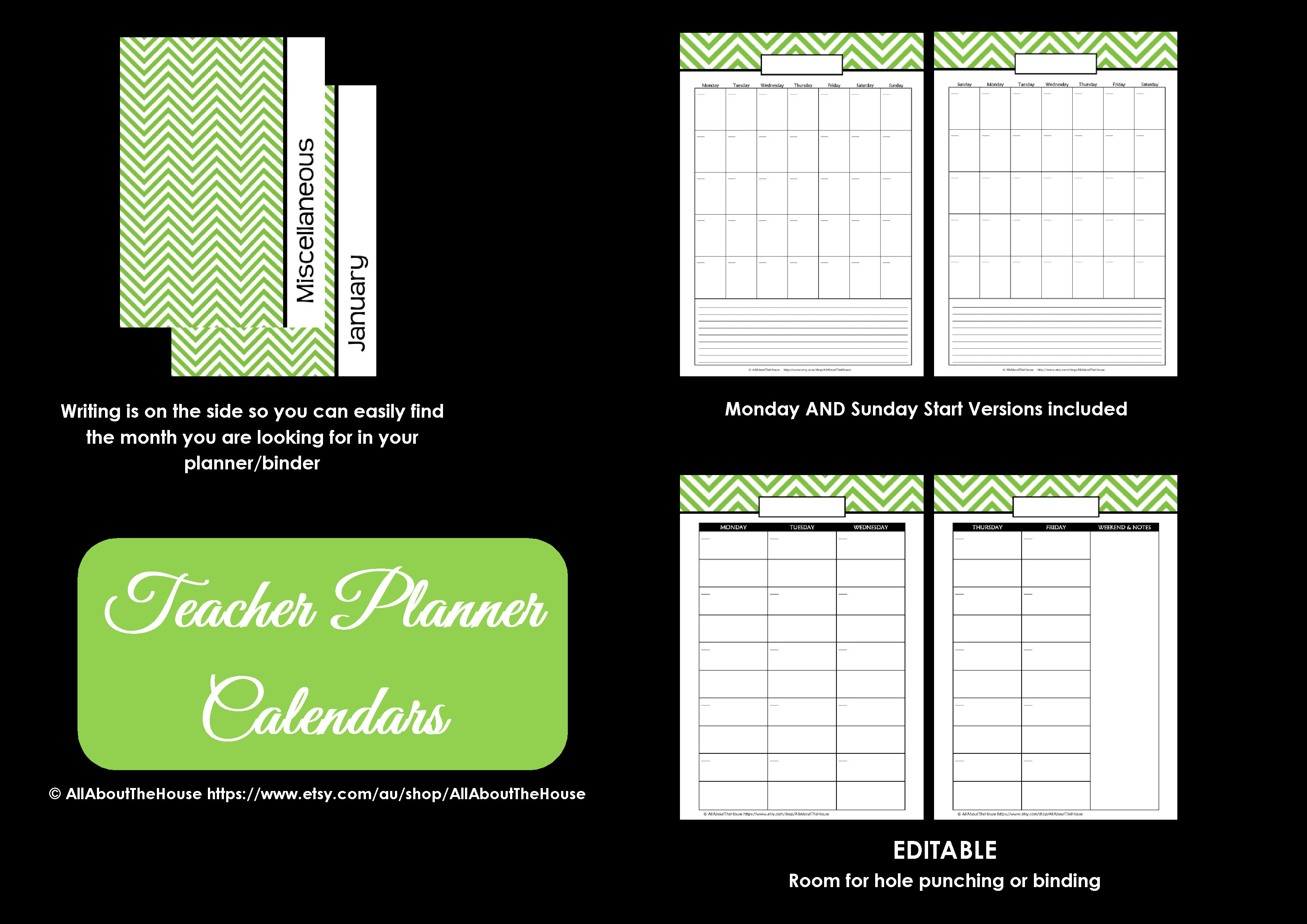 Teacher planner printables editable chevron all for Home planning binder