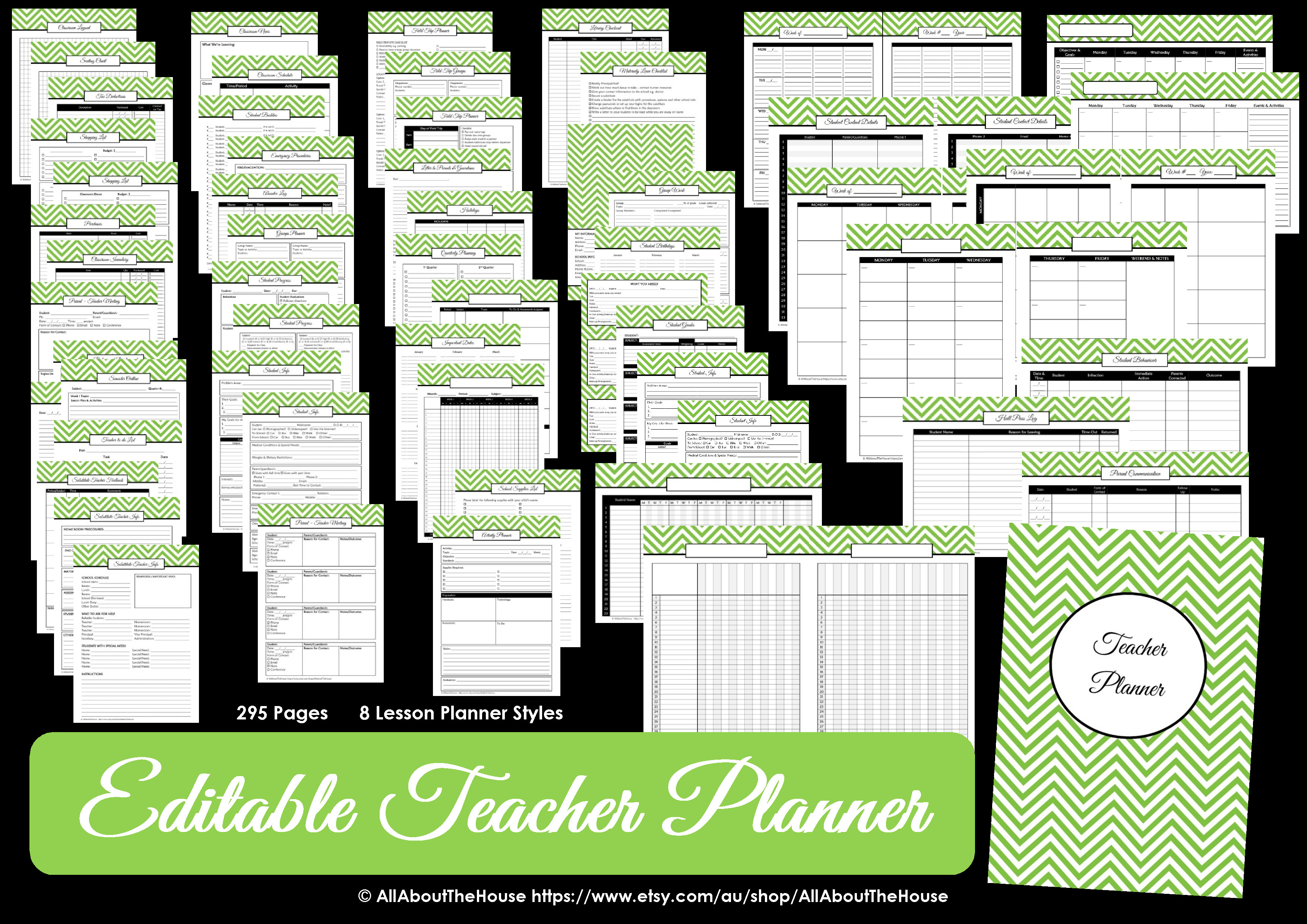 teacher planner printable editable planner chevron