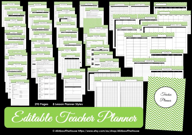 teacher planner printable editable planner chevron