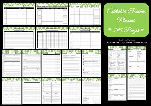 teacher planner printables editable chevron all about planners