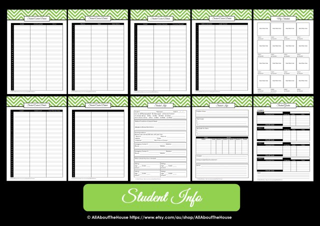 teacher planner printable student information data binder
