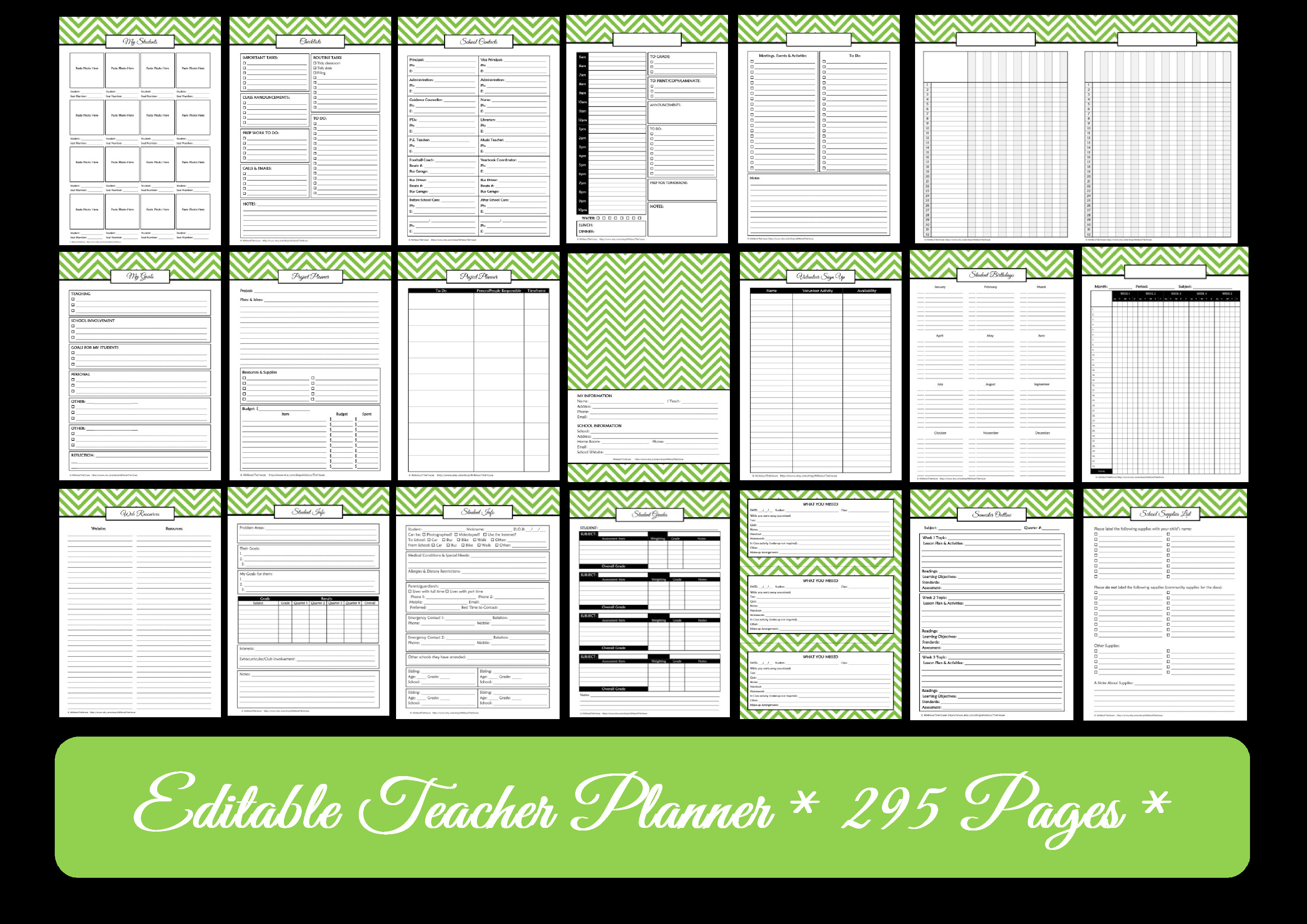 image regarding Printable Teacher Planner referred to as Trainer Planner Printables - Editable Chevron - All Relating to