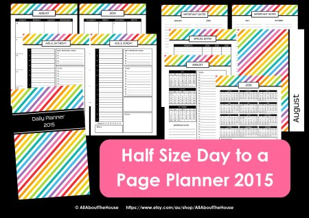 Half Size 2015 planner printable agenda organizer day weekly daily mom pdf editable