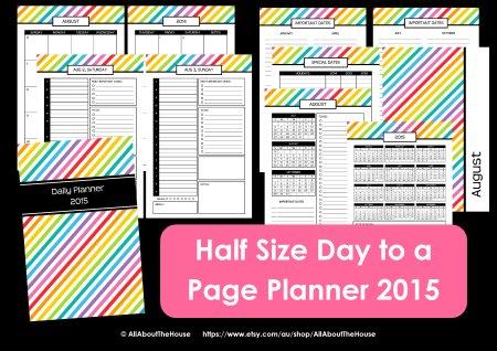 Half Size 2015 planner printable agenda organizer day weekly daily mom pdf editable