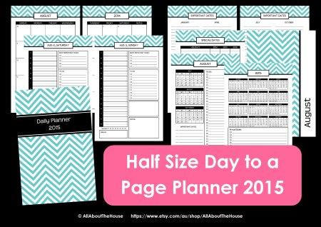 half size day to a page printable planner chevron 2014 2015 pdf