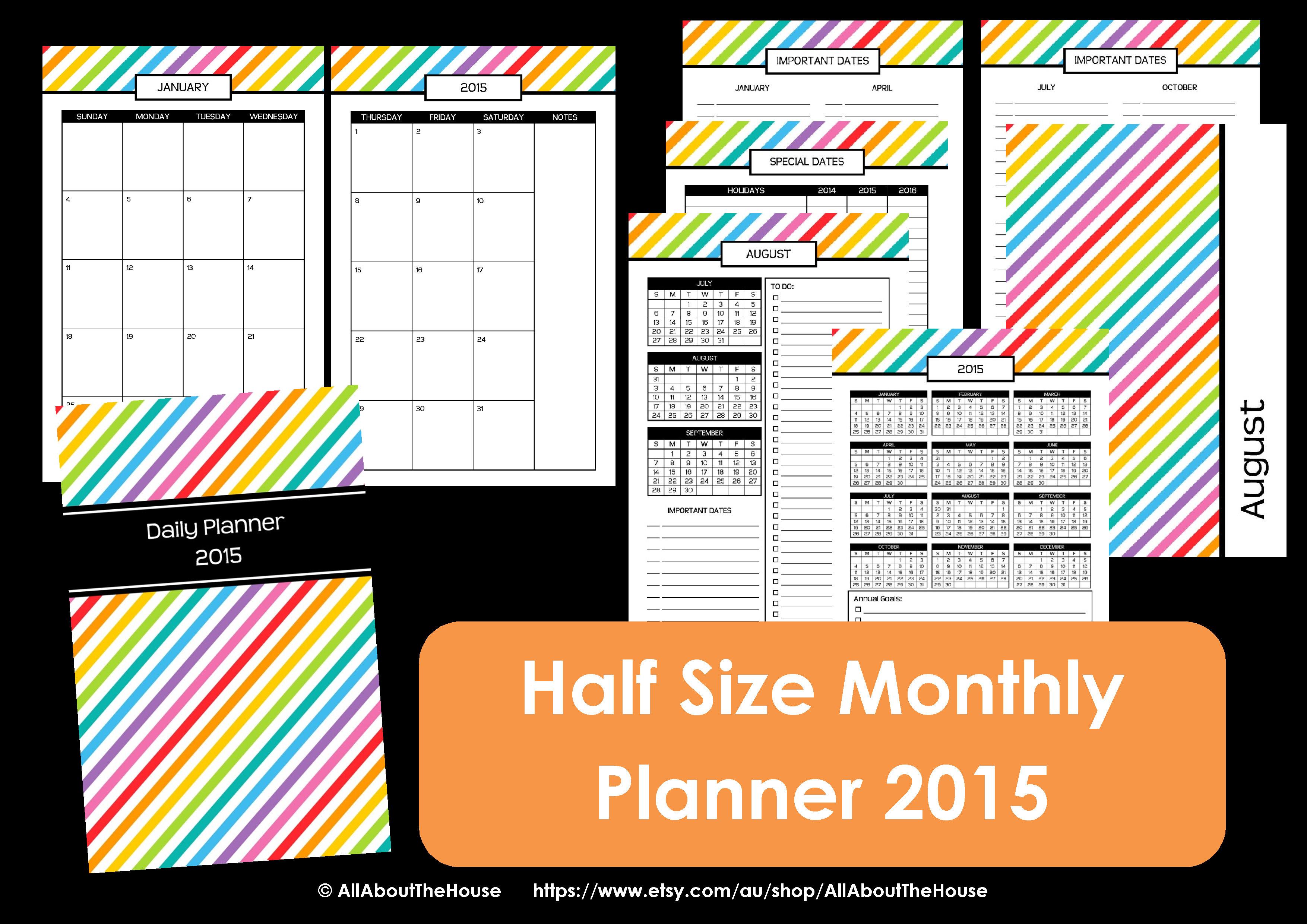 half size monthly calendar printable rainbow stripe preppy 8.5 x 5.5 simplified planer