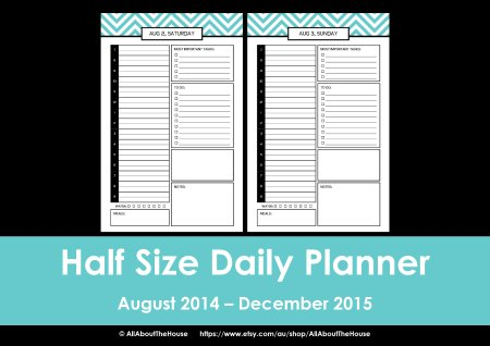 Half Size printable planner 2014 2015 chevron editable 4