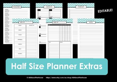 Half Size printable planner 2014 2015 chevron editable extras
