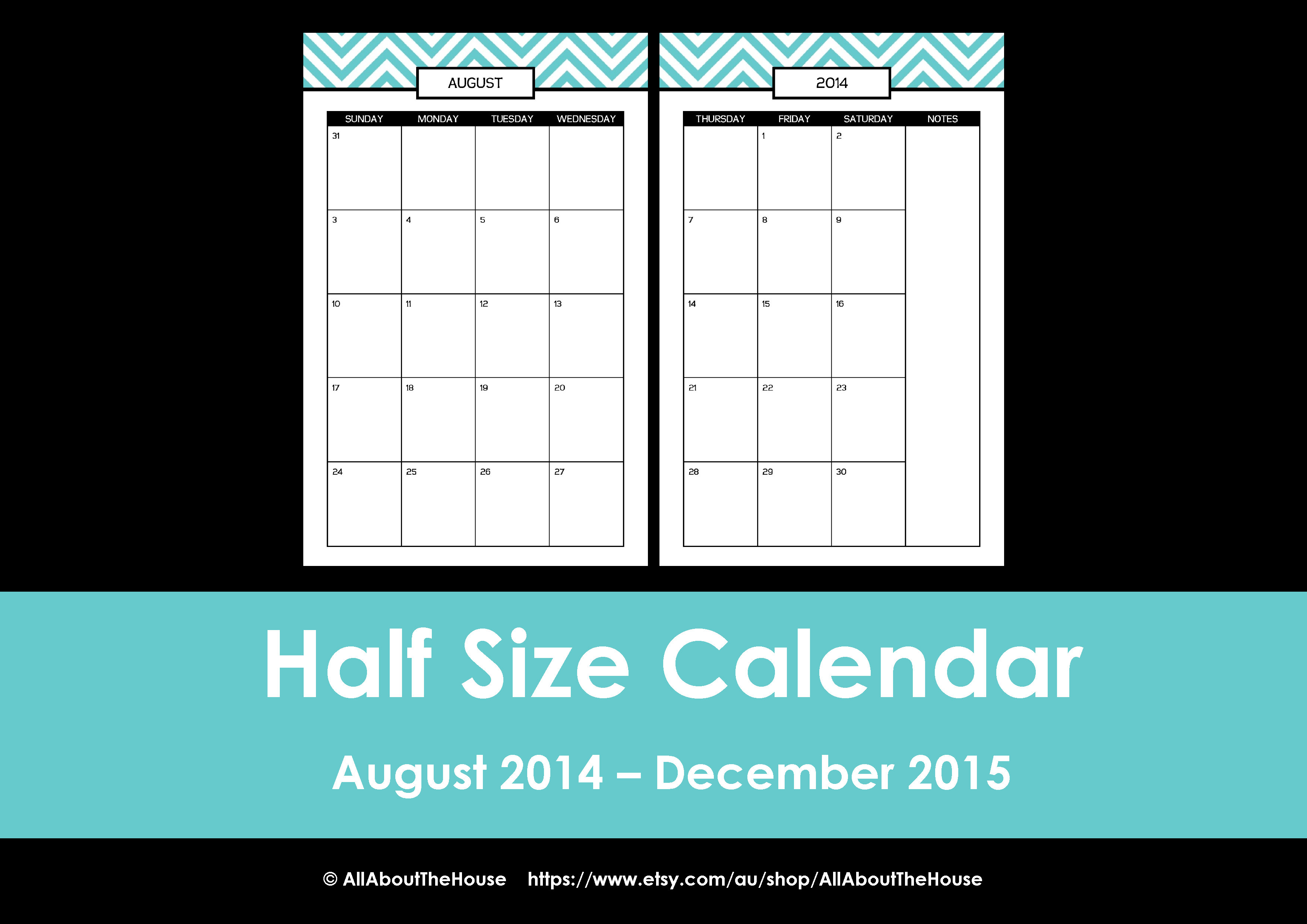 Half Page Monthly Calendar : New half size printable planners for