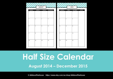 Half Size printable planner 2014 2015 chevron editable