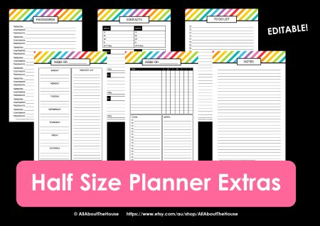 Half Size rainbow planner listing photo