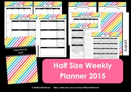 half size weekly planner 2015 printable arc junior 8.5 x 5.5 letter rainbow stripe simplified