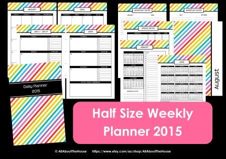 half size weekly planner 2015 printable arc junior 8.5 x 5.5 letter rainbow stripe simplified
