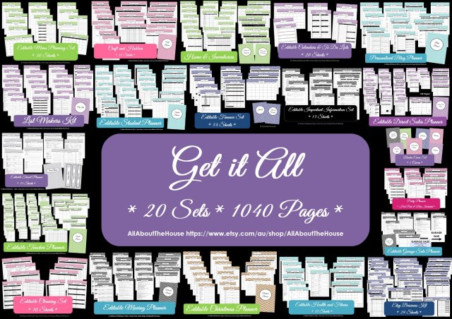 Get It All printable planner editable organize household binder instant download