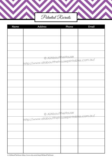 Potential Recruits contacts direct sales printable organizer half size letter size editable instant download chevron A4
