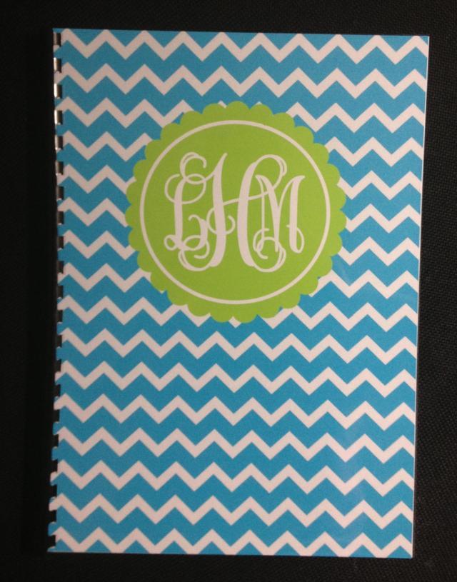 monogram notebook chevron printable blue green preppy personalised