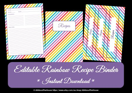 Rainbow Recipe Binder - AllAboutTheHouse