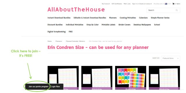 AllAboutTheHouse Printables Reward Points Program