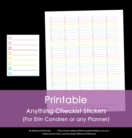 checklist sticker calendar planner rainbow printable erin condren plum paper accessory