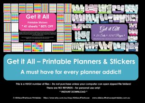 Get it All Planner Addicts Bundle - 21 printable planners plus printable planner stickers calendar organize your life