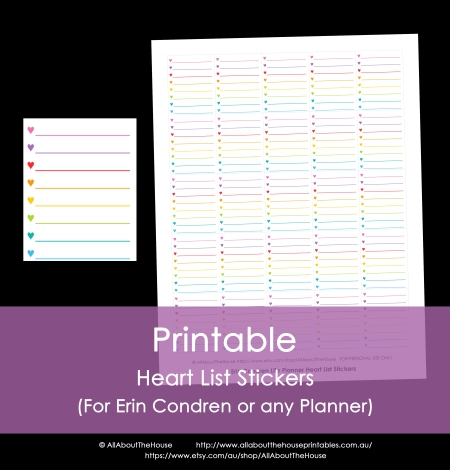 heart list stickers calendar printable planner erin condren accessory rainbow