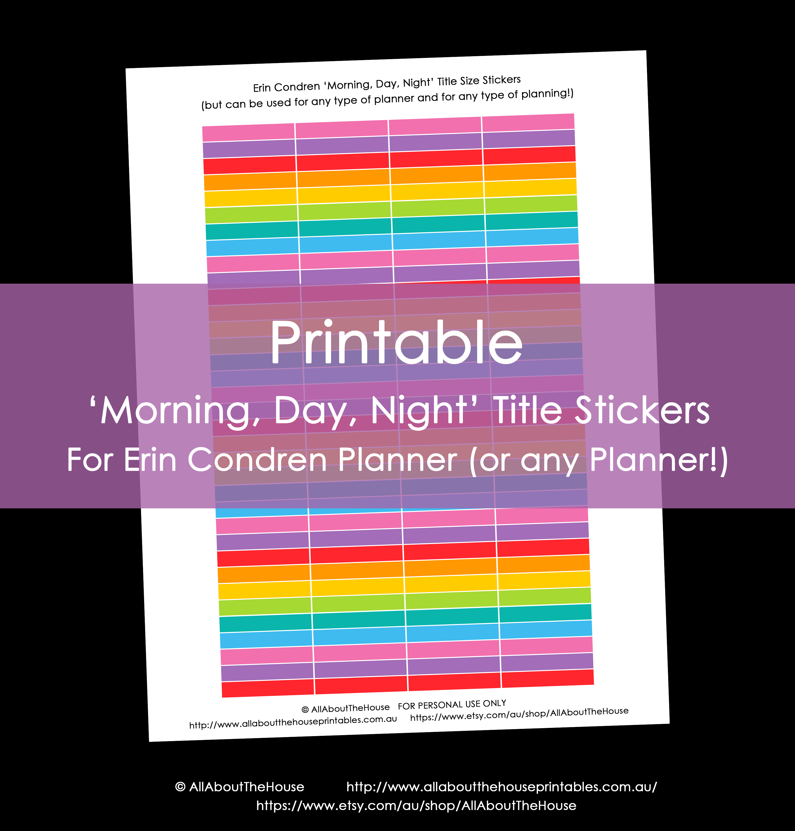 picture about Printable Calendar Stickers referred to as Printable Calendar stickers ECLP 12 shades rainbow early morning