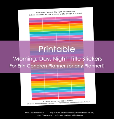 Printable Calendar stickers ECLP 12 colours rainbow morning day night