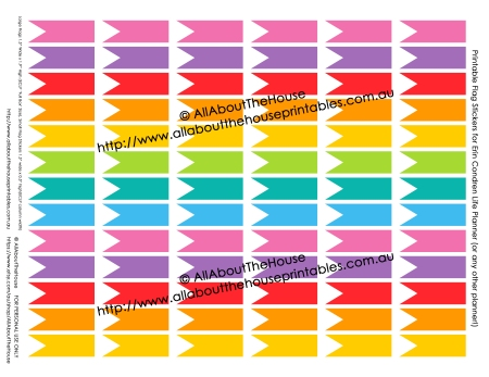 Small Flag Stickers - ECLP printable calendar sticker planner rainbow instant download