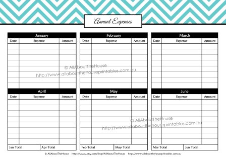 Annual Expenses - budget planner binder finances money management organizer debt investment savings expenses annual monthly chevron editable printable planner spending income divider letter size accounting family paycheck