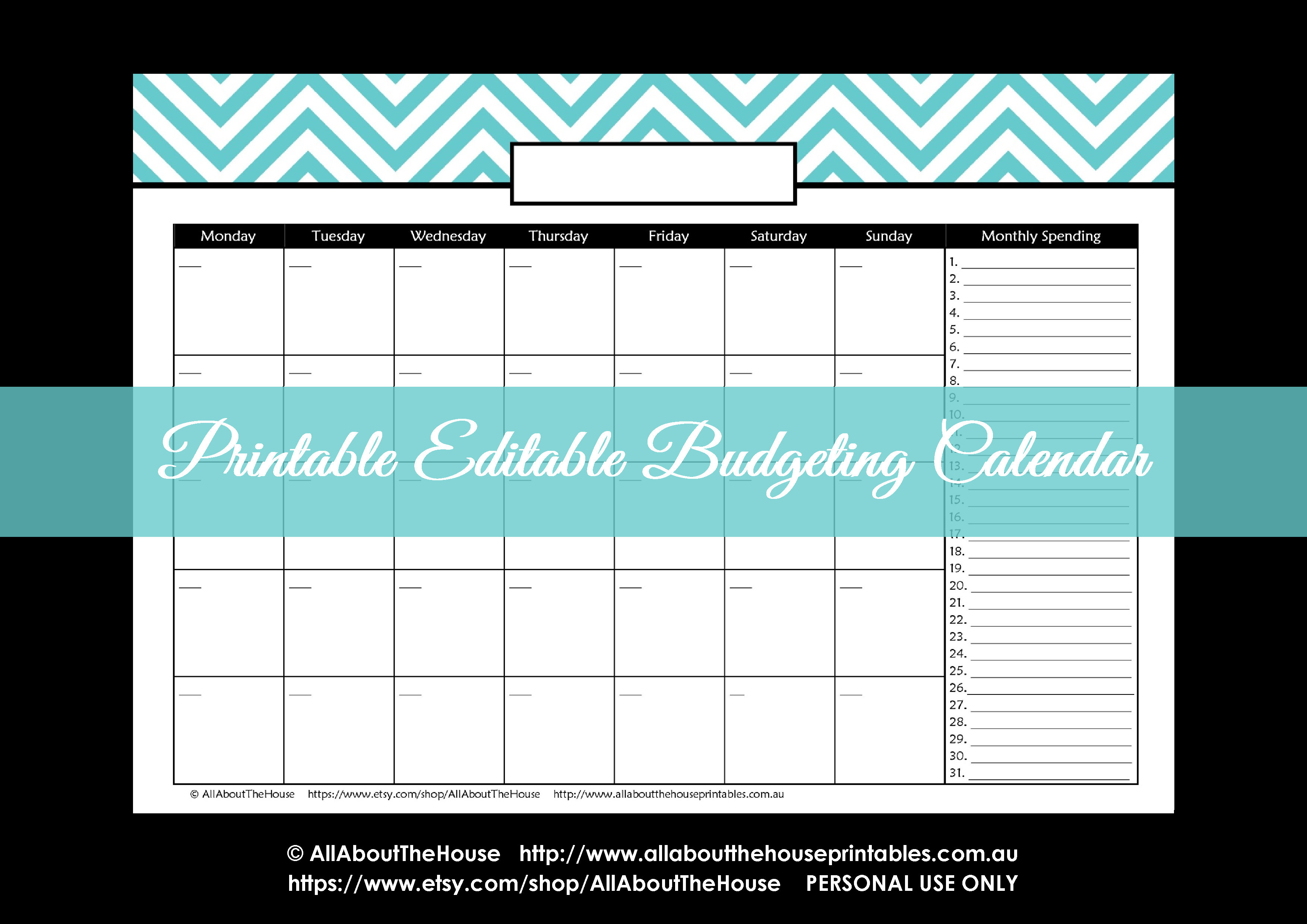 printable monthly budget calendar