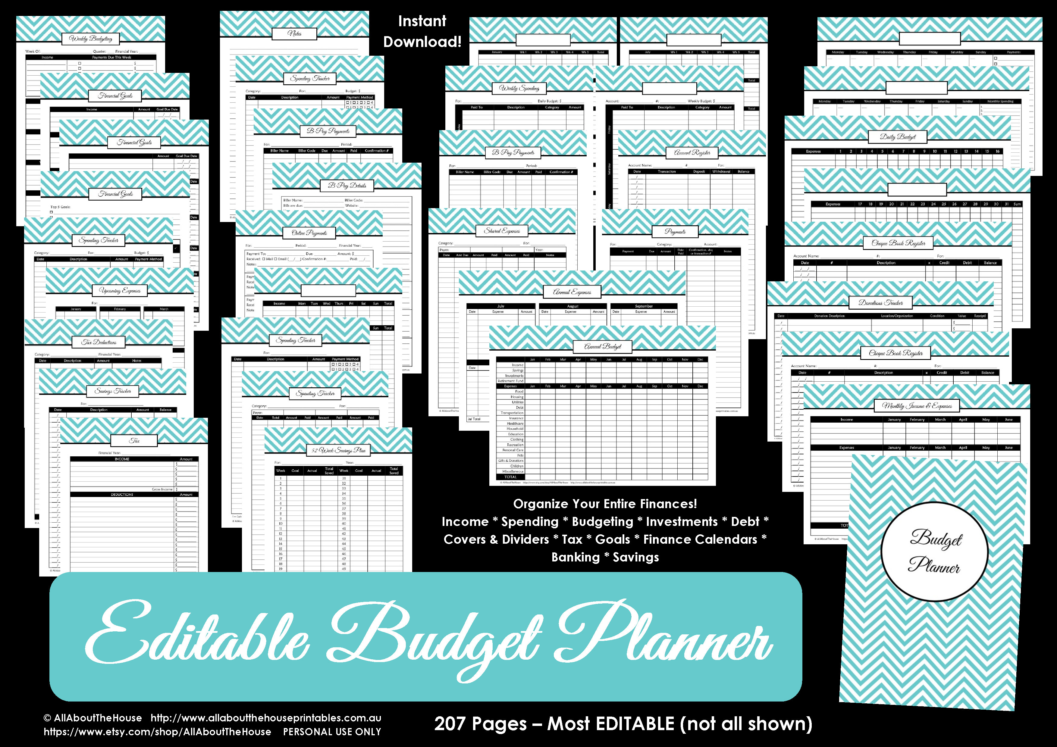 printable budget planner, budget binder, budget printable, monthly budget, savings tracker, planner cover, binder cover, binder insert, tax planner, family budget, bill tracker, bills checklist,