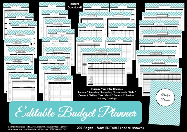 budget binder planner printable editable pdf chevron templates debt savings investment banking account goals letter size