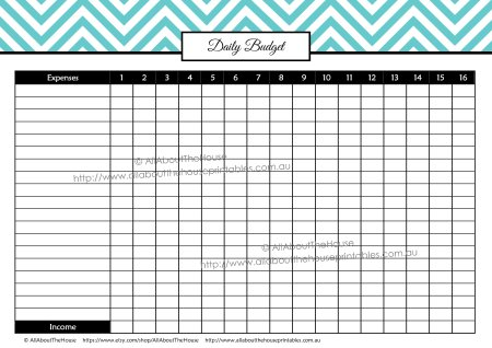 Daily Spending editable printable budget binder planner finance organize expense tracker chevron instant download