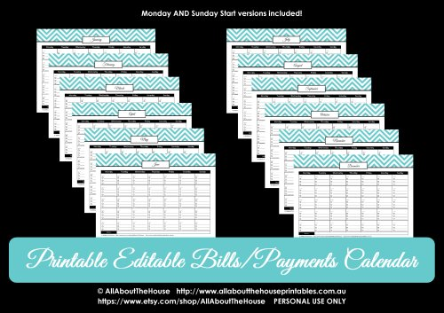 editable budget and bill pay calendar chevron instant download 7 colours finance organizer binder printable paid bills checklist